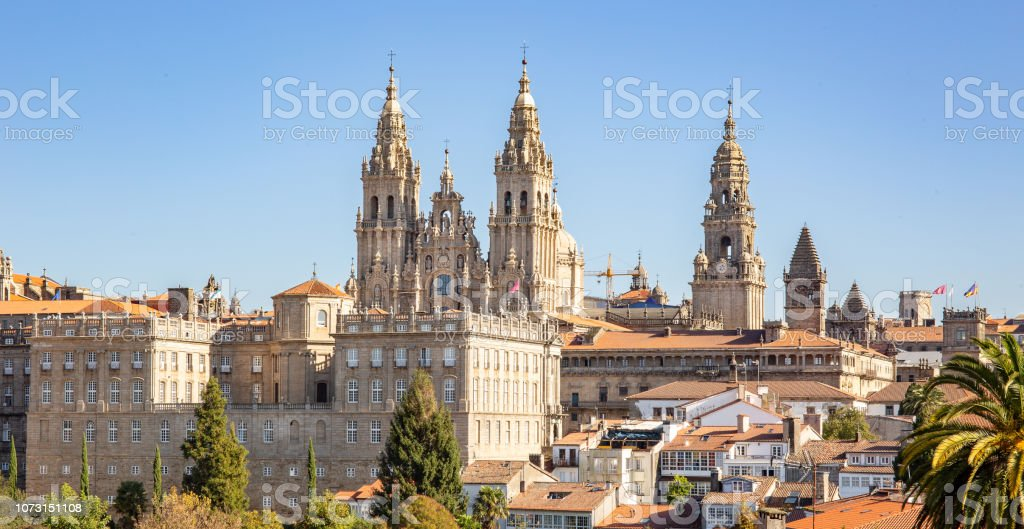 Santiago de Compostela view with Cathedral of Santiago de Compostela stock photo