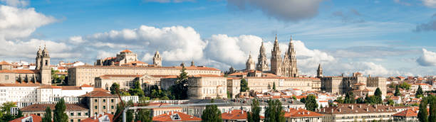 Santiago de Compostela wide panoramic view High resolution. Destiny of the way of St. James stock photo
