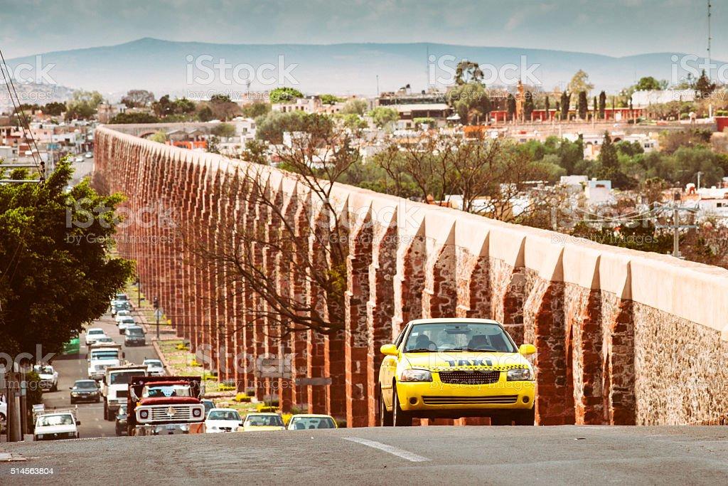 Santiago de Queretaro Aqueduct Mexico stock photo
