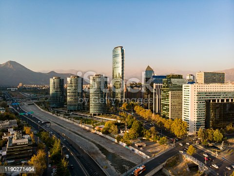 Aerial view of Sanhattan, Financial District located in the east side of Santiago de Chile