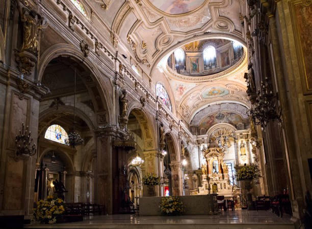Santiago Metropolitan Cathedral, Chile Interior of Santiago Metropolitan Cathedral, Chile place of worship stock pictures, royalty-free photos & images