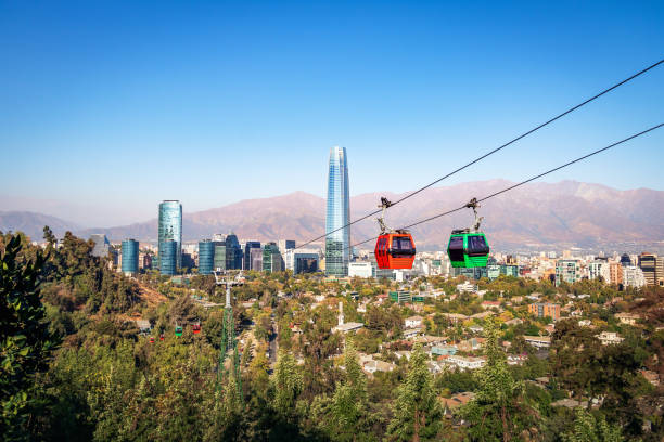 Santiago Metropolitan Park Cable Car and Santiago aerial skyline with Costanera Skyscraper - Santiago, Chile stock photo