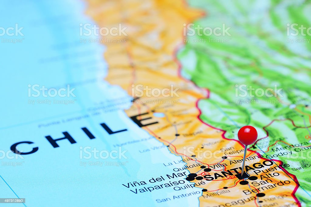 Santiago pinned on a map of Chile stock photo