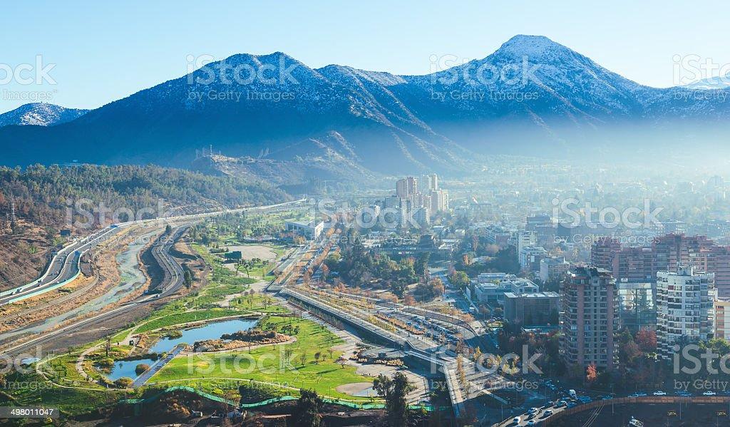 Santiago winter cityscape stock photo