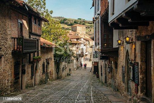 A street in Santillana del Mar, an important touristic destination in Cantabria, Spain