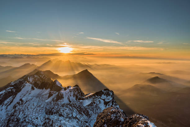 Santis Appenzell Alps Sunset Santis Appenzell Alps Sunset in November swiss alps stock pictures, royalty-free photos & images