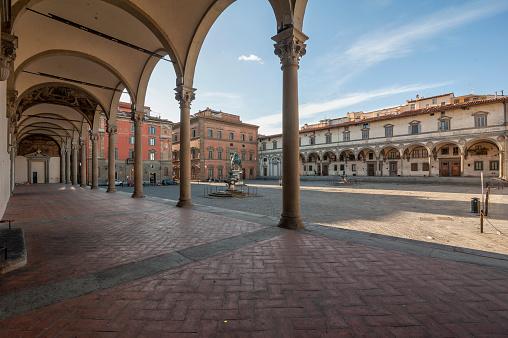Santissima Annunziata Square during Covid-19 pandemic lockdown.