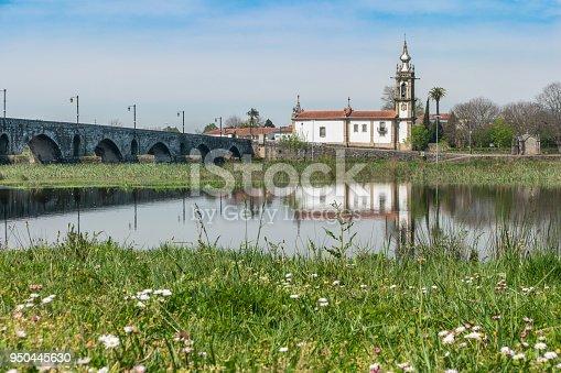Santo Antonio da Torre Velha church with roman bridge in Ponte de Lima town, Portugal.