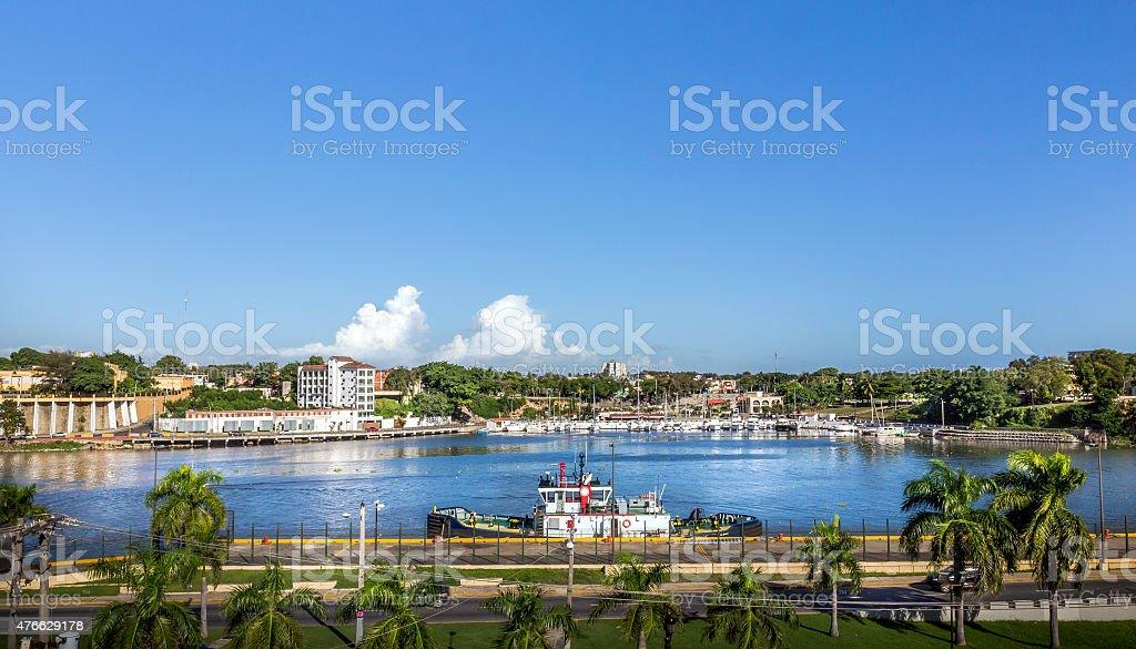 Santo Domingo harbor stock photo