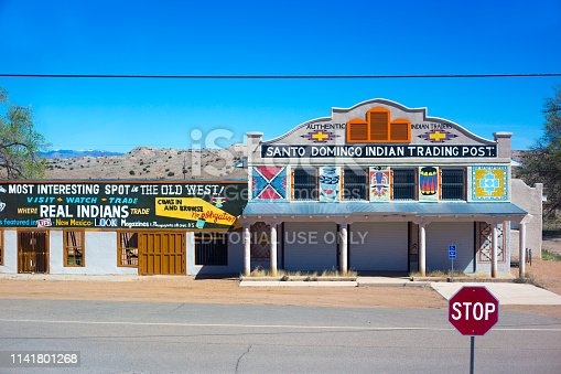 Santo Domingo, NM: An old-fashioned Indian trading post near the Santo Domingo Pueblo, located between Santa Fe and Albuquerque.