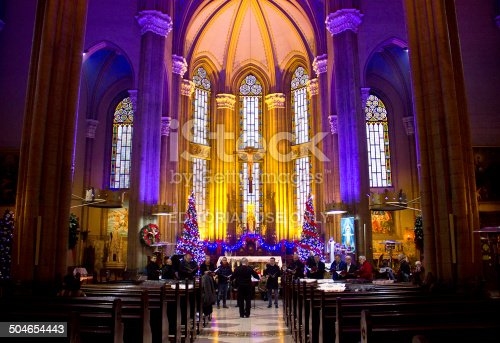 Istanbul, Turkey - December 14, 2013: Christians get ready for concert in St. Antoine Roman Catholic Church in Istanbul, Turkey. As you can see the singers are concentrated and singing there Christmas hymns with joy.