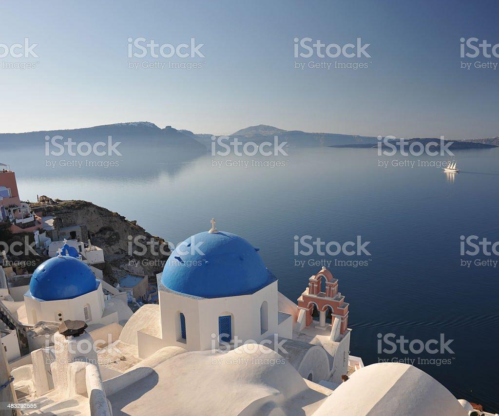 Santorini at dawn stock photo