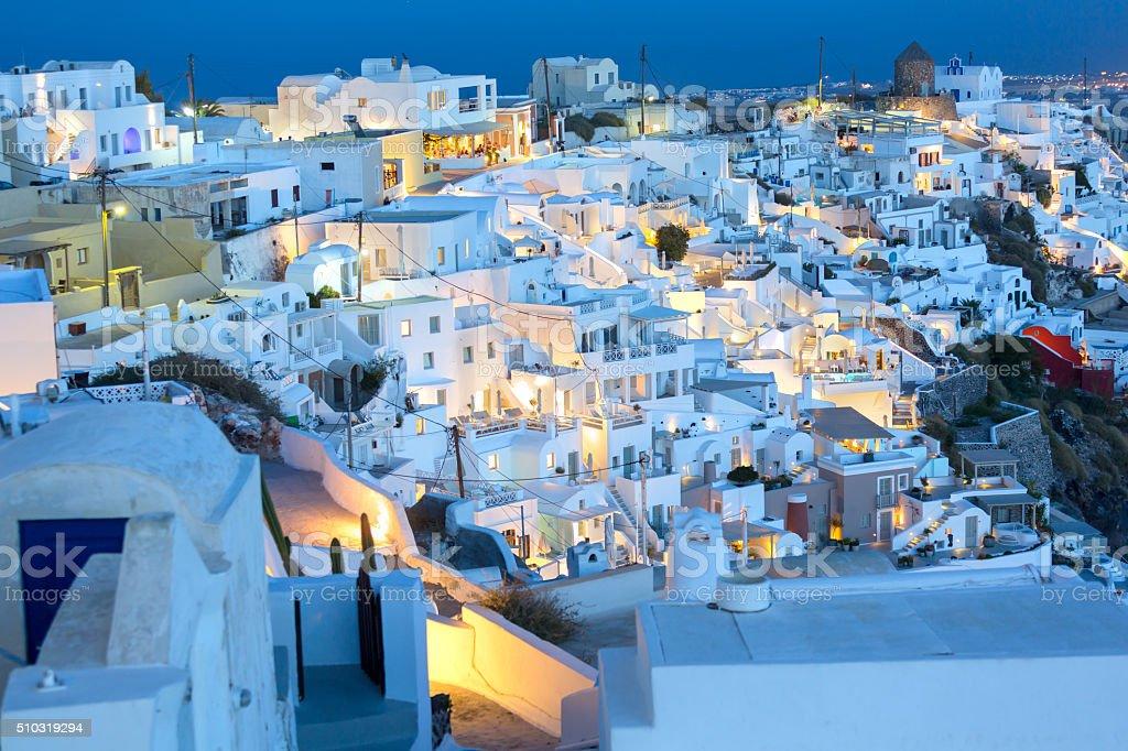 Santorini at night village of Fira Greece stock photo