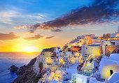 Santorini beautiful sunset at village Oia on Greece