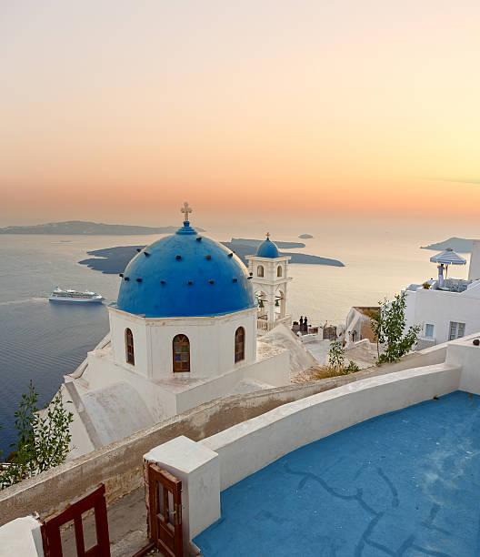 santorini bell tower and blue domes in oia on greece - santorini bildbanksfoton och bilder