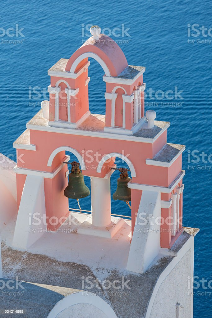 Santorini bell tower in Oia on Greece stock photo