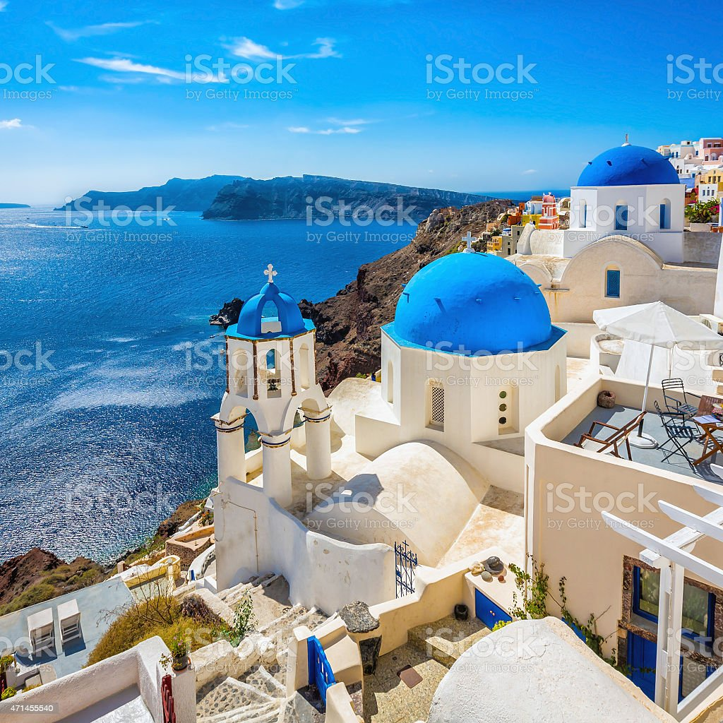 Santorini blue dome churches, Greece stock photo
