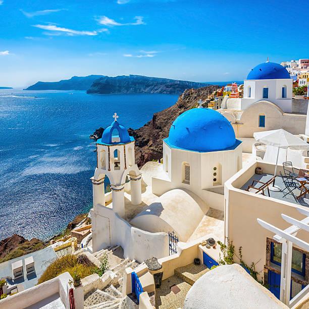 santorini blue dome churches, greece - santorini stock photos and pictures