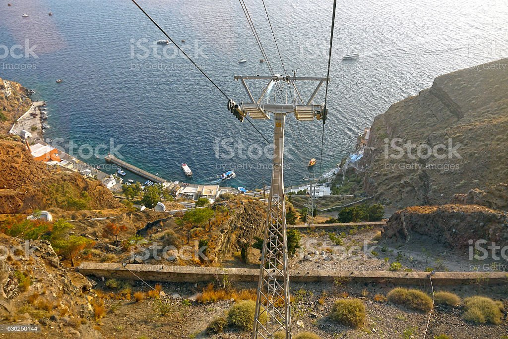 Santorini Cable Car, Santorini. GREECE. stock photo
