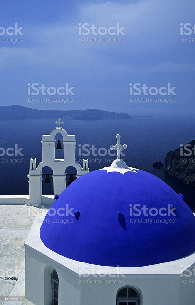 Santorini Church and Belltower royalty-free stock photo