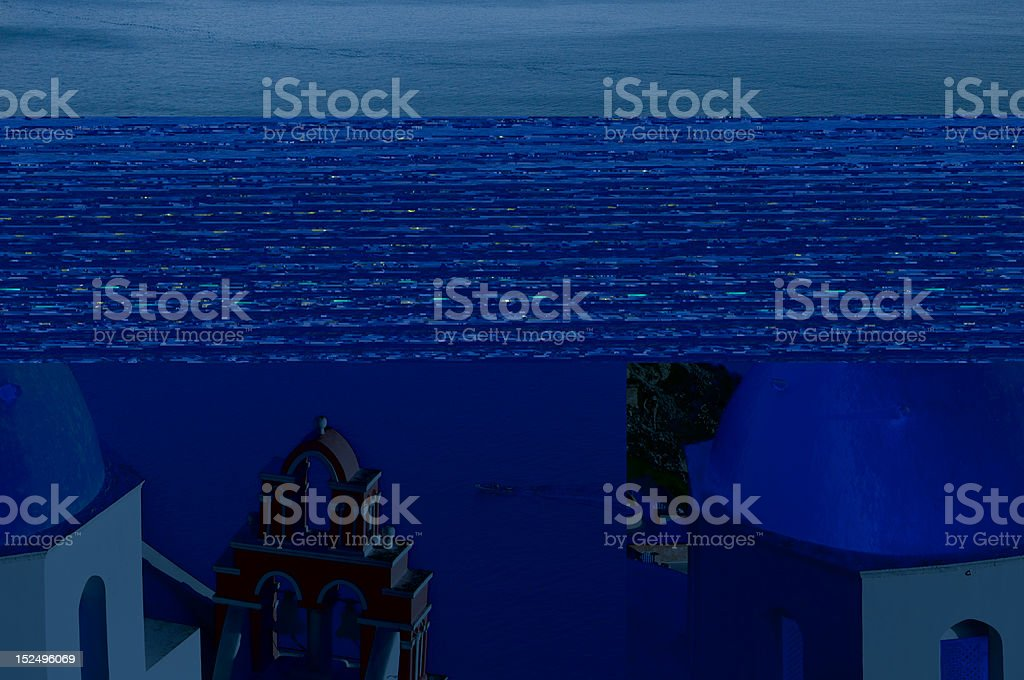 Santorini church with blue dome royalty-free stock photo