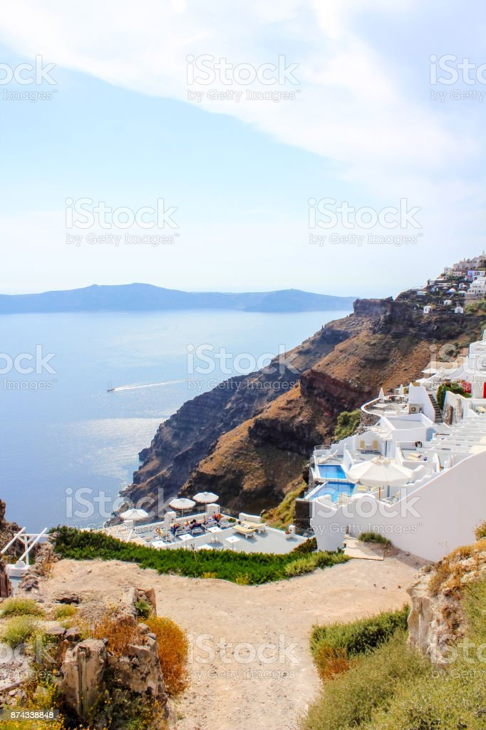 Santorini cityscape stock photo