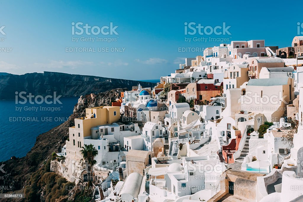 Santorini cityscape with Nea Kameni on the background. stock photo