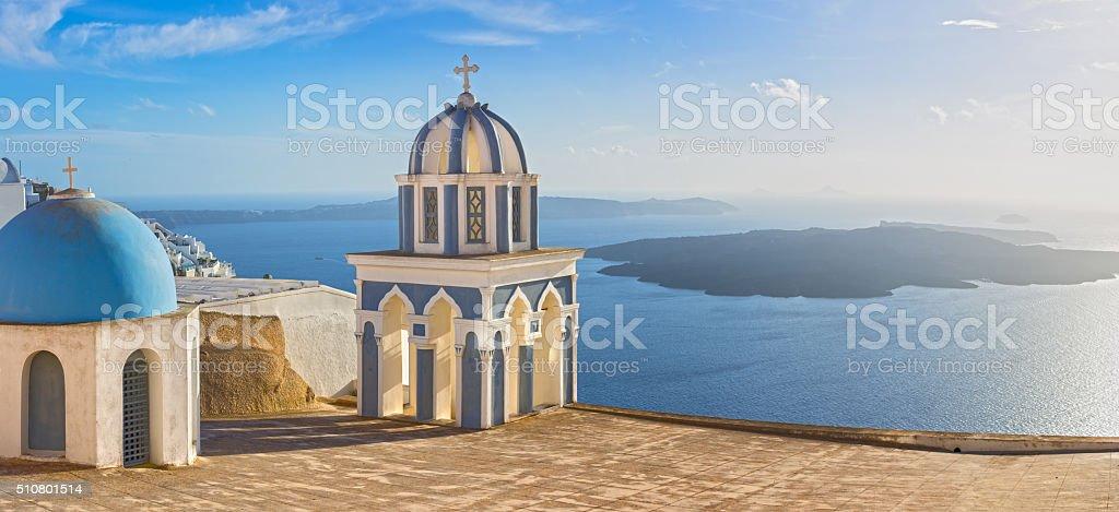 Santorini cupola at the village of Fira stock photo