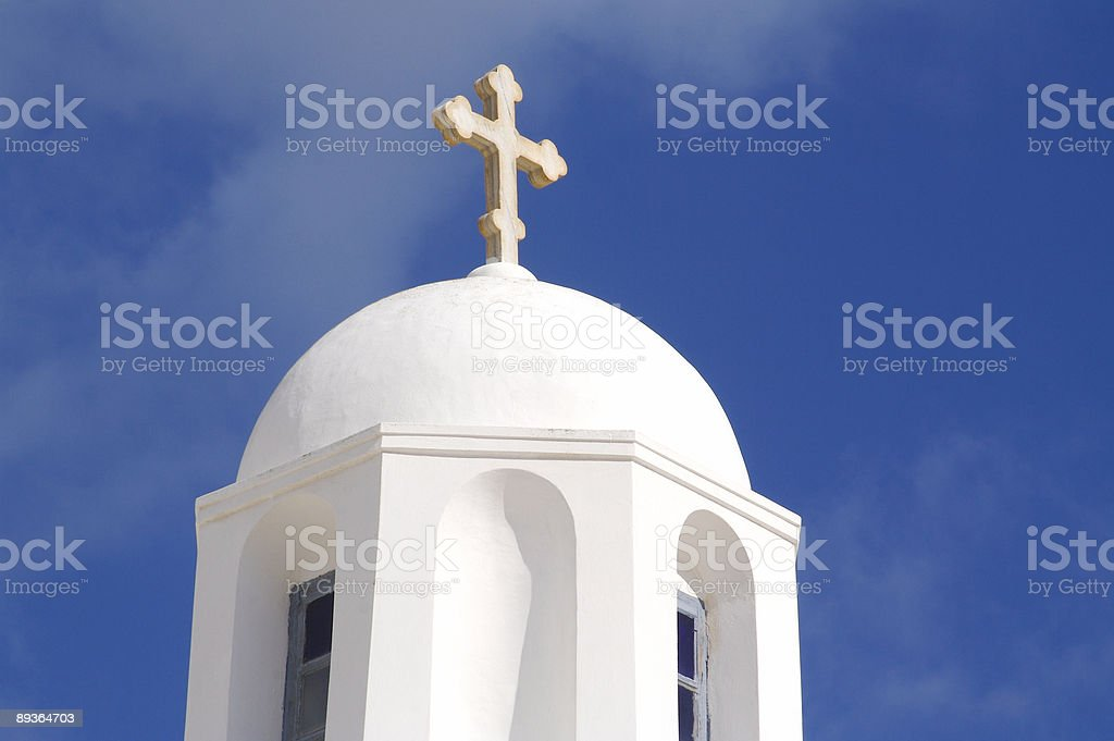 Santorini Dome and Cross - 3 royalty-free stock photo