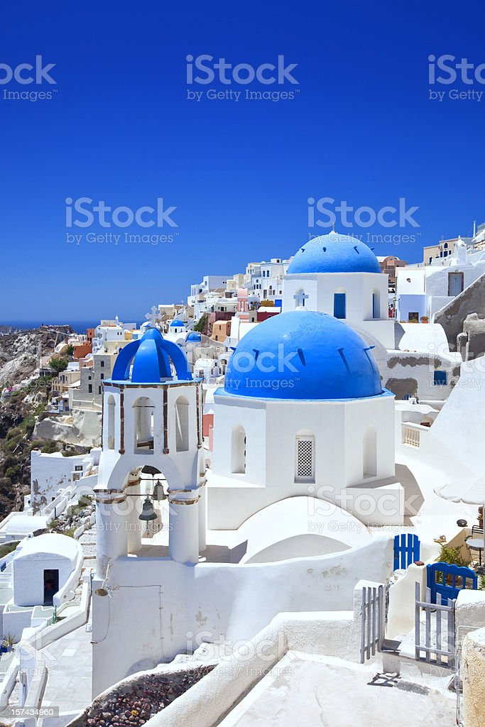Santorini famous churches stock photo
