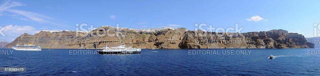 Santorini - Fira panoramic view stock photo