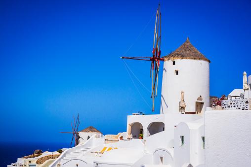 Oia 산토리니 그리스 풍차 0명에 대한 스톡 사진 및 기타 이미지