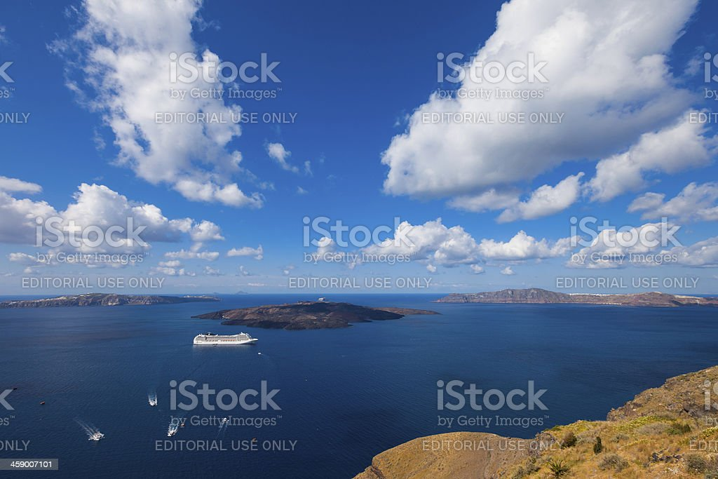 Santorini, Greece, Cruise Ship royalty-free stock photo