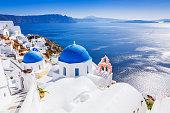Santorini, Greece. The picturesque Oia village and Santorini caldera.