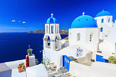 Blue domed church in Oia, Santorini Greece