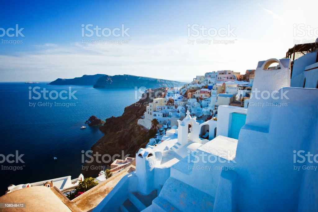 Santorini island at sunset royalty-free stock photo