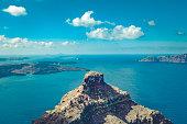 skaros rock (former castle) in imerovigli village on santorini island in greece.