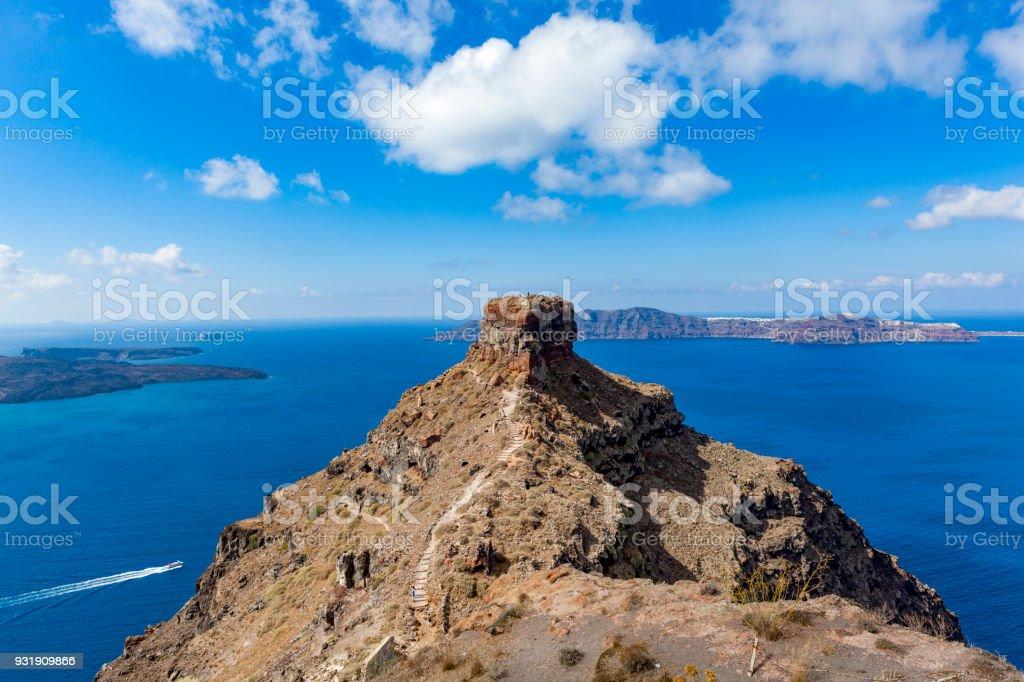 Santorini Island Caldera View With Skaros Rock The Cyclades Greece