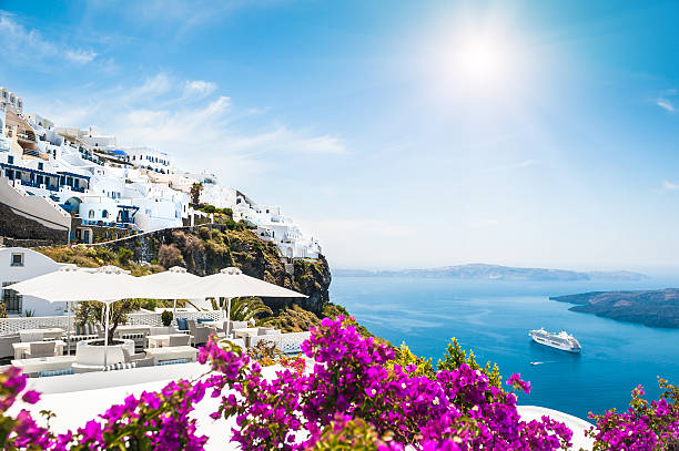Santorini island, Greece Santorini island, Greece. Beautiful view on the sea mediterranean sea stock pictures, royalty-free photos & images