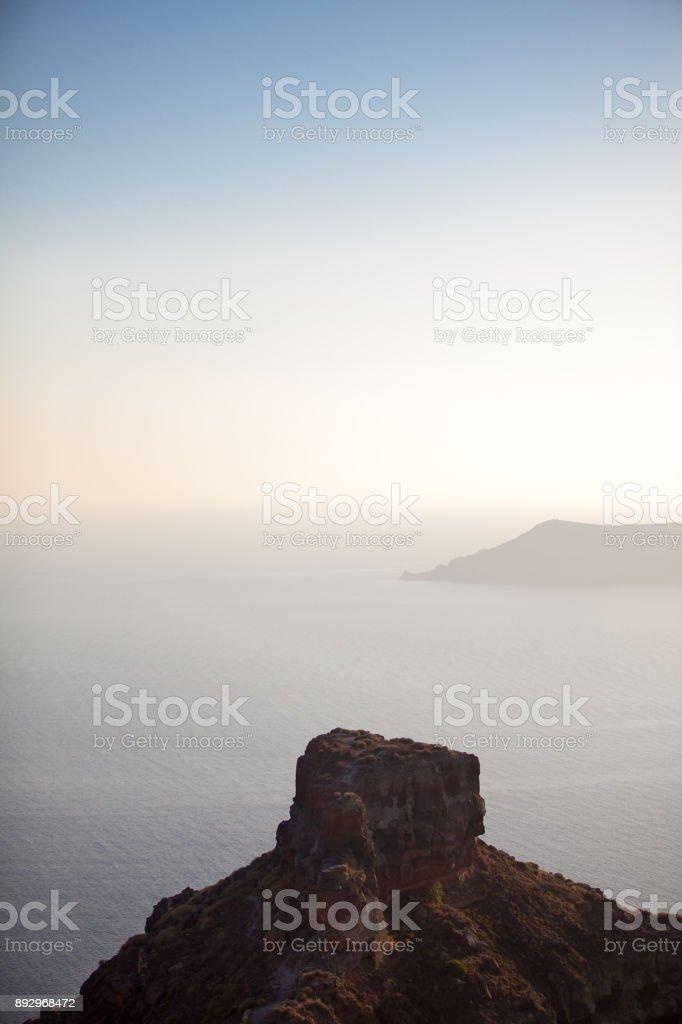 Santorini island, Greece. View on the foggy caldera stock photo