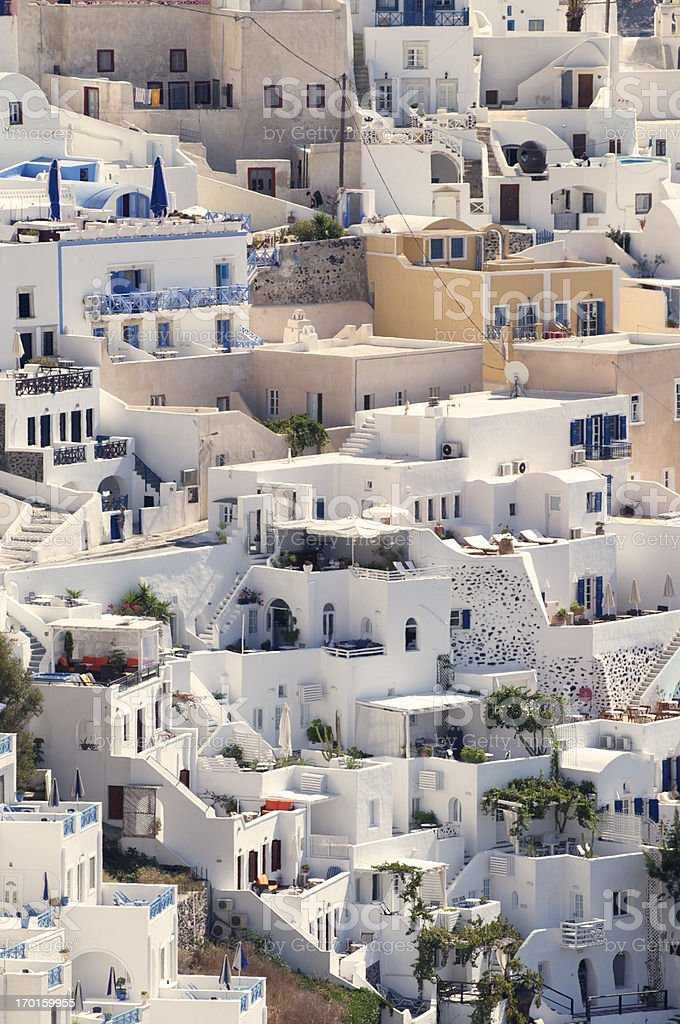 Santorini Oia Village Close Up Vertical Buildings royalty-free stock photo