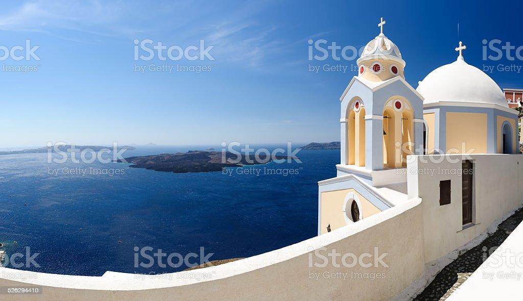 Santorini panorama with church stock photo