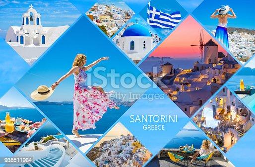 istock Santorini postcard, collage of beautiful photos from famous Greek island 938511964