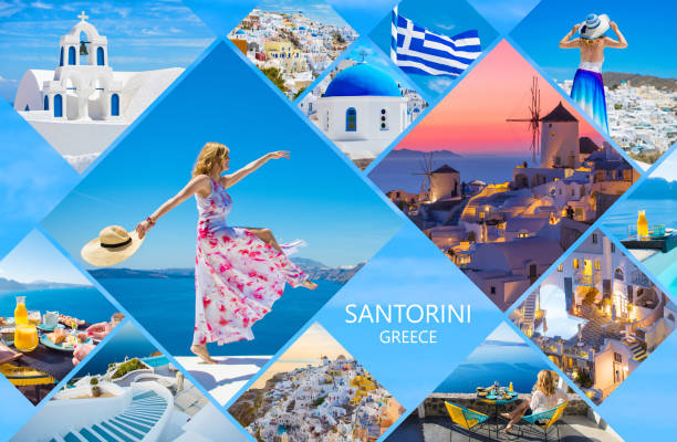 santorini postcard, collage of beautiful photos from famous greek island - image montage stock pictures, royalty-free photos & images