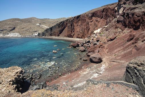 Volcanic rocks of Kokkini Paralia or Red Beach on Santorini island, Greece.