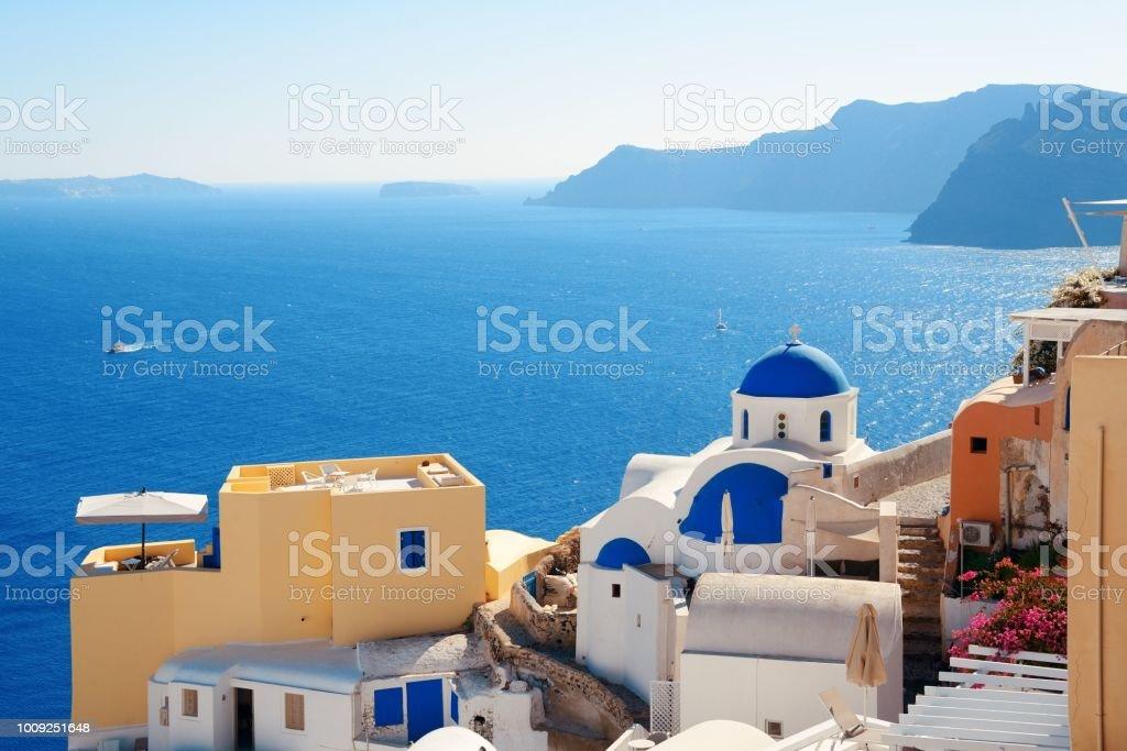 Santorini skyline blue church stock photo