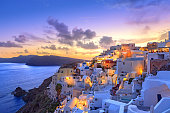 istock Santorini sunset at dawn village of Oia Greece 510967662