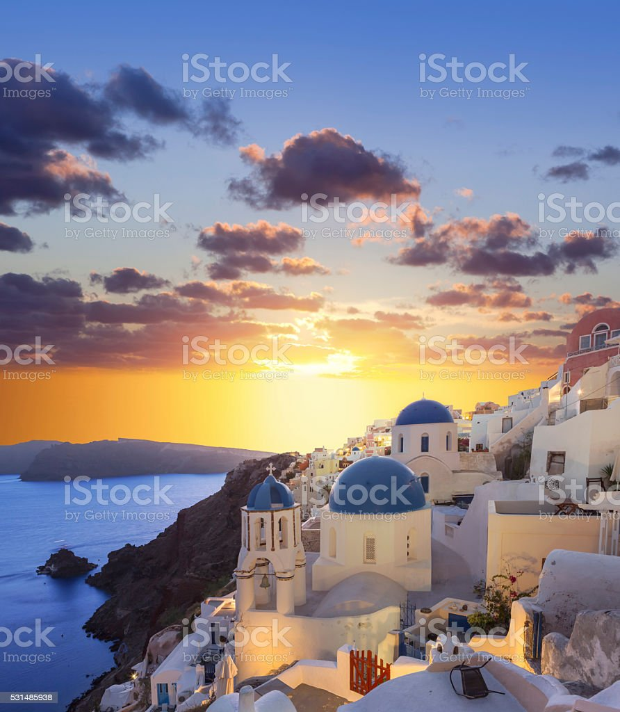 Santorini sunset at village Oia on Greece stock photo
