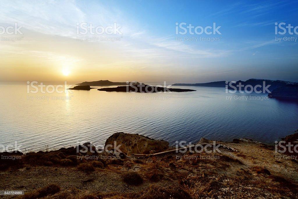 Santorini Sunset - View to the Caldera stock photo