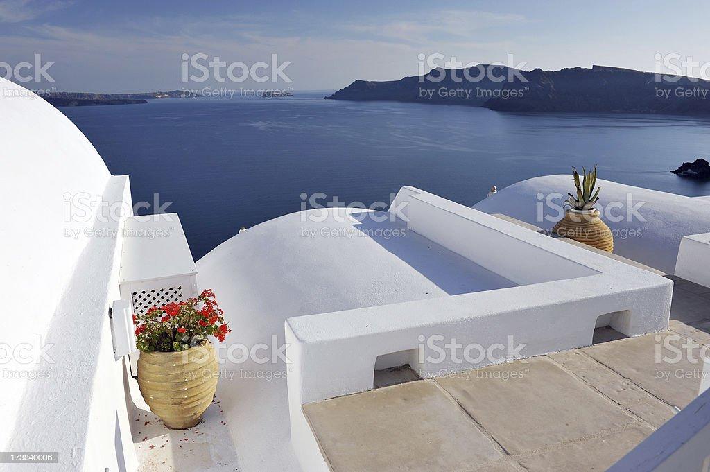 Santorini terrace royalty-free stock photo